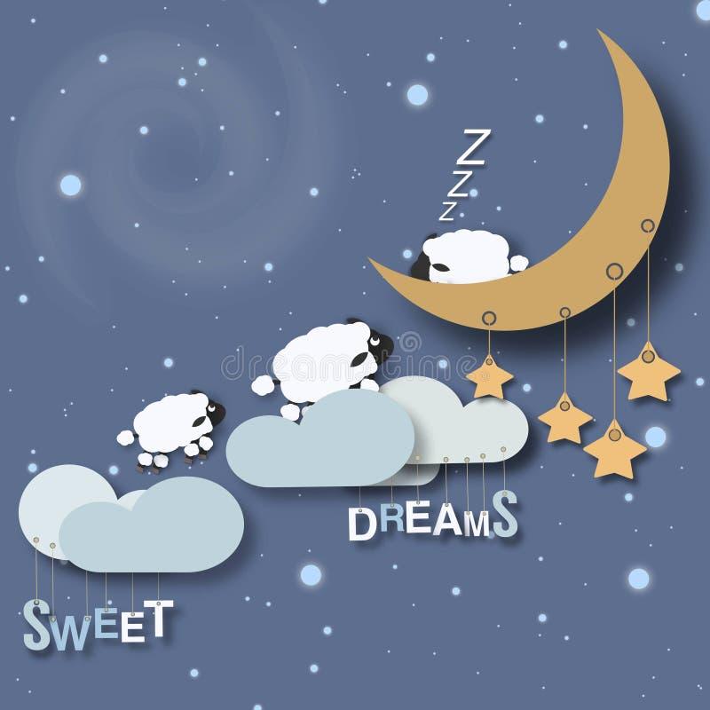 Piccolo manifesto dei bambini di sogni dolci illustrazione vettoriale