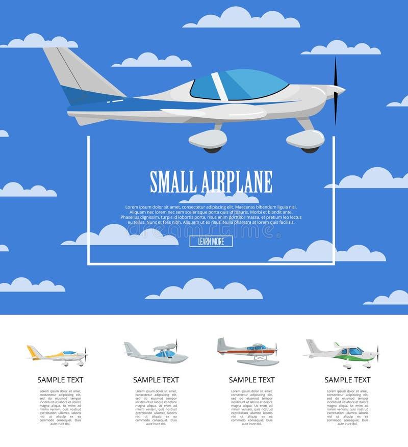Piccolo manifesto dell'aeroplano con gli aerei dell'elica royalty illustrazione gratis