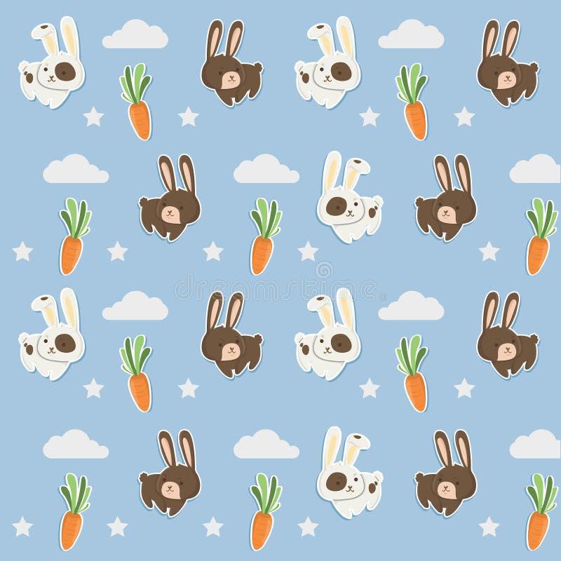 Piccolo modello del coniglio con le carote sveglie illustrazione di stock