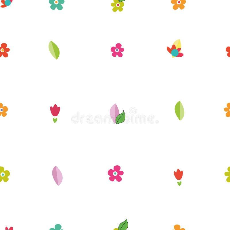 Piccolo modello di fiori vibrante variopinto sveglio illustrazione vettoriale