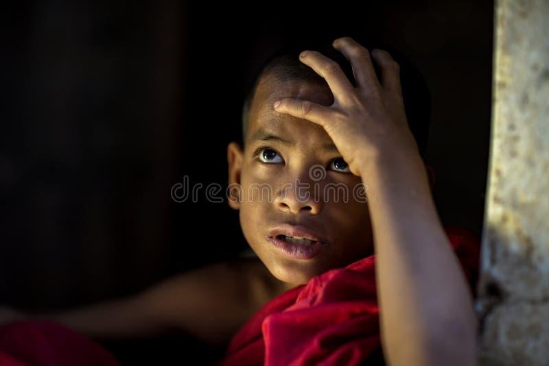 Piccolo monaco Myanmar Looking con speranza del principiante o monaco in Myanm fotografie stock libere da diritti