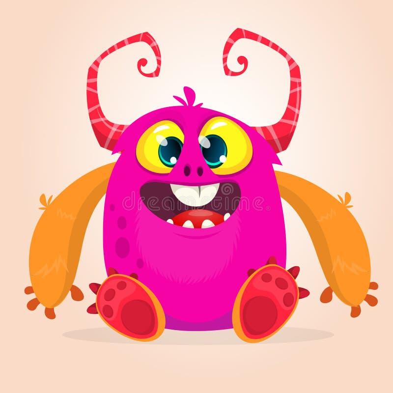 Piccolo mostro felice rosa minuscolo con i grandi occhi illustrazione di stock