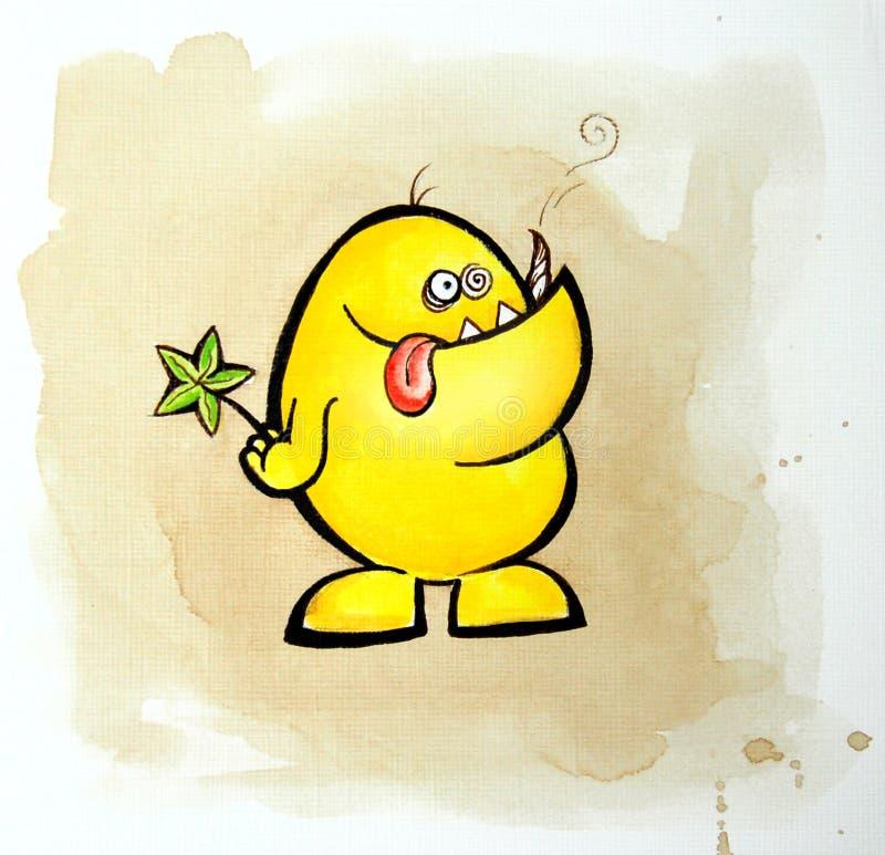 Piccolo mostro giallo astratto illustrazione di stock