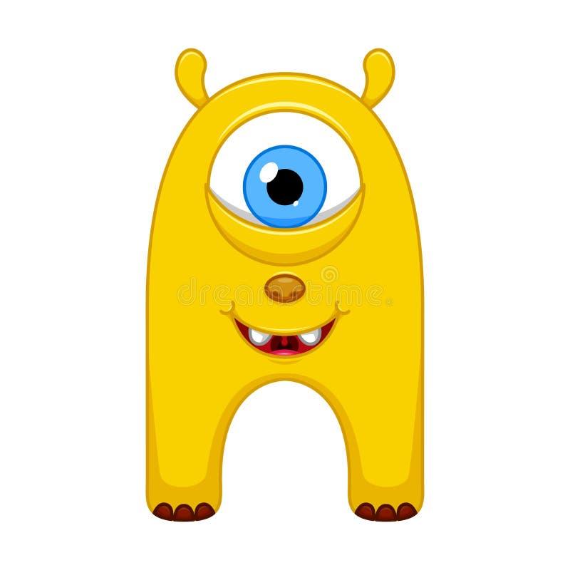 Piccolo mostro giallo sveglio del fumetto su fondo bianco illustrazione vettoriale