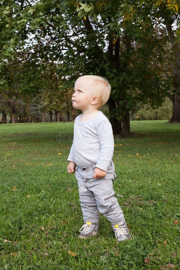 Piccolo neonato che cammina nel parco all'aperto fotografia stock libera da diritti