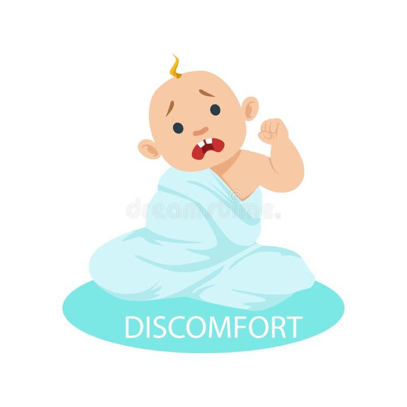 Piccolo neonato in pannolino aggrovigliato nel disagio generale di sensibilità, parte delle ragioni dell'infante che sono infelic illustrazione vettoriale