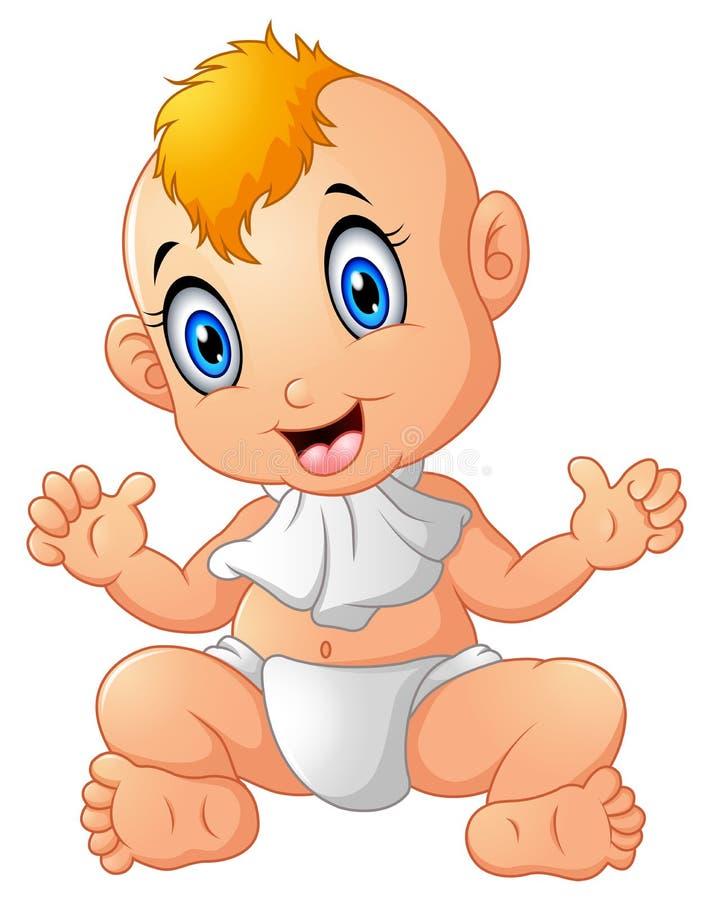 Piccolo neonato sorridente felice sveglio illustrazione vettoriale