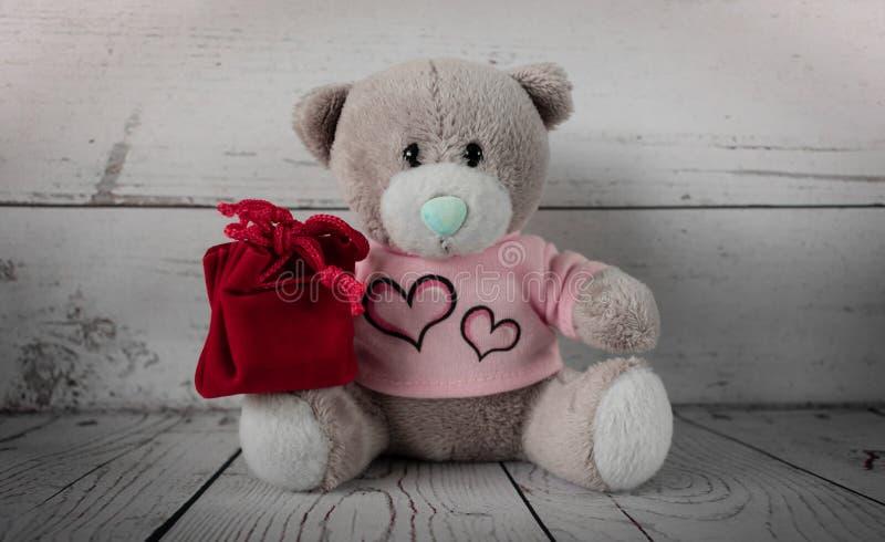 Piccolo orsacchiotto sveglio con una borsa rossa del regalo sul suo rivestimento fotografie stock