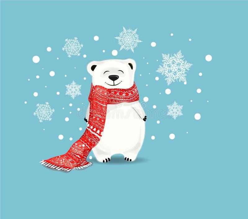 Piccolo orso bianco con i fiocchi di neve Concetto di Natale illustrazione vettoriale