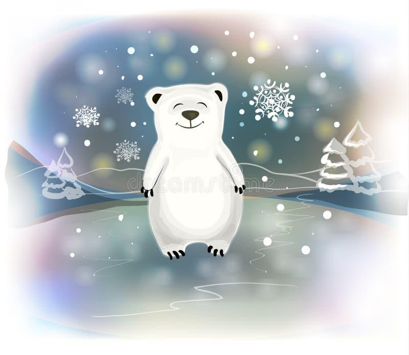Piccolo orso polare con i fiocchi di neve su fondo blu Concetto di Natale illustrazione vettoriale