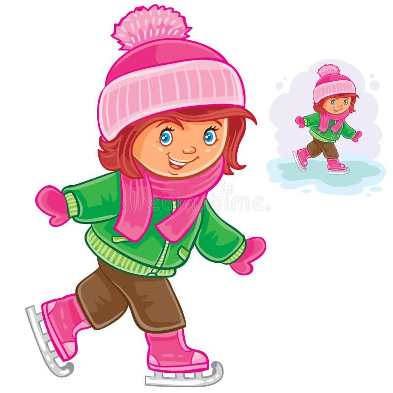 Piccolo pattinaggio su ghiaccio della ragazza royalty illustrazione gratis