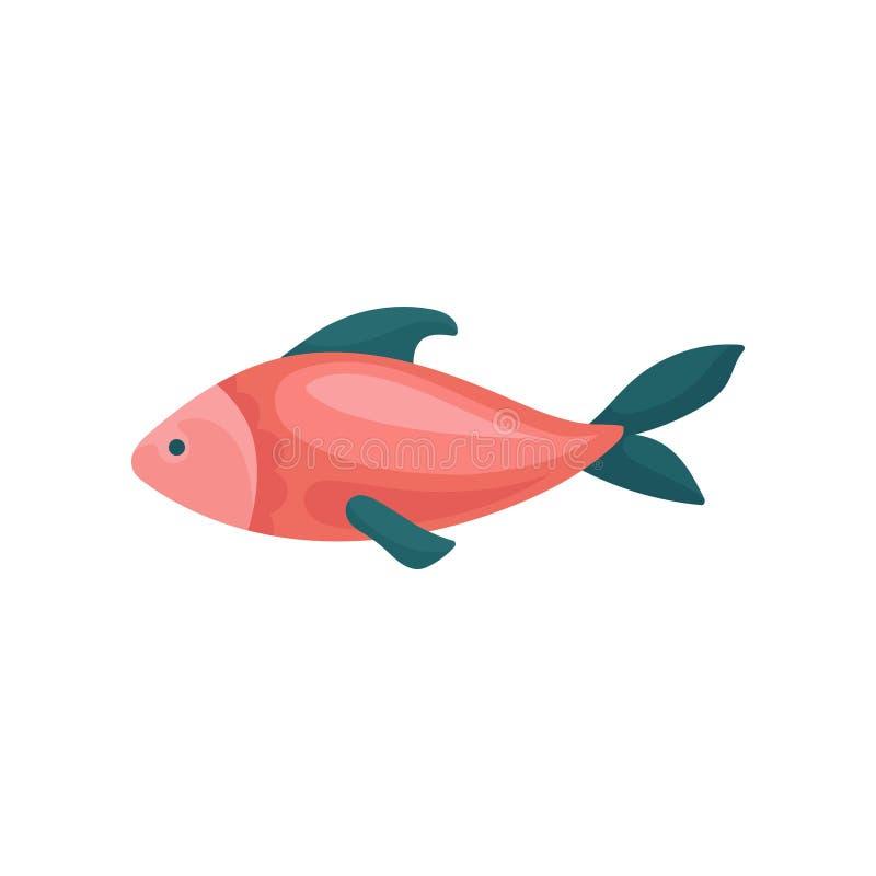 Piccolo pesce rosso luminoso con le alette blu Animale di mare Creatura marina Elemento piano di vettore per il libro di bambini royalty illustrazione gratis
