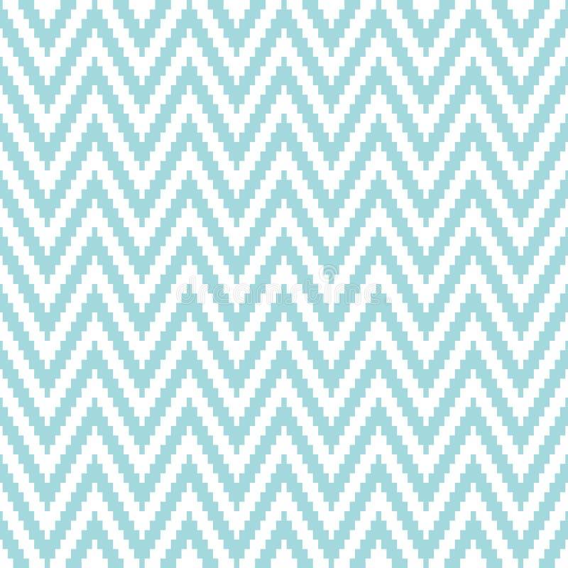 Piccolo pixel Chevron del modello senza cuciture blu e bianco illustrazione di stock