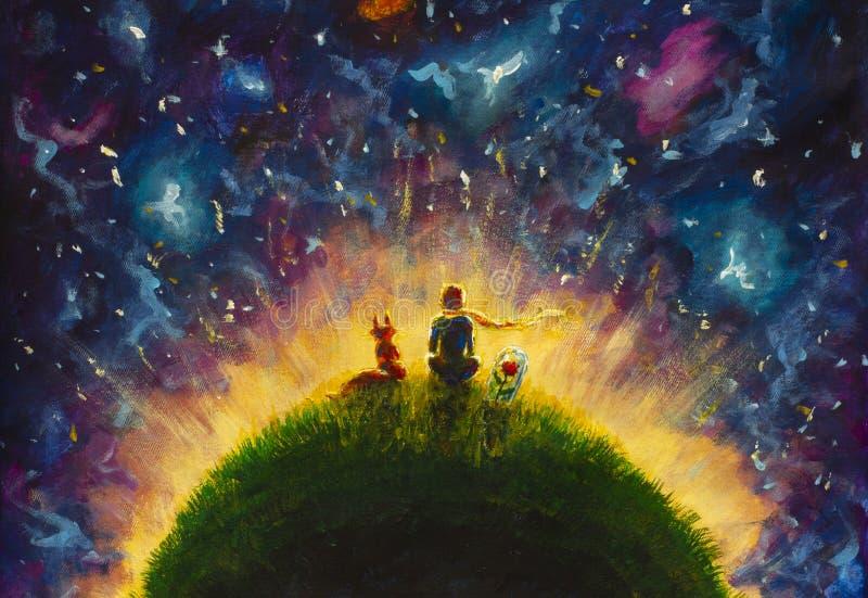 Piccolo principe della pittura a olio originale e volpe e rosa rossa che si siedono sull'erba sotto il cielo stellato royalty illustrazione gratis