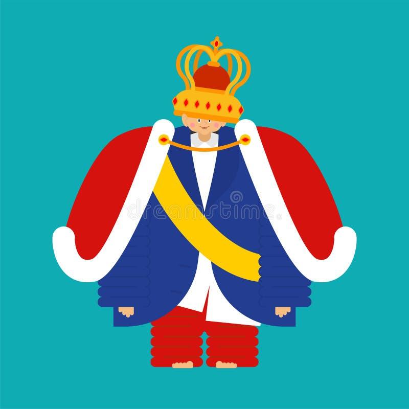 Piccolo principe isolato Ragazzo in corona Figlio reale Illustra di vettore illustrazione di stock