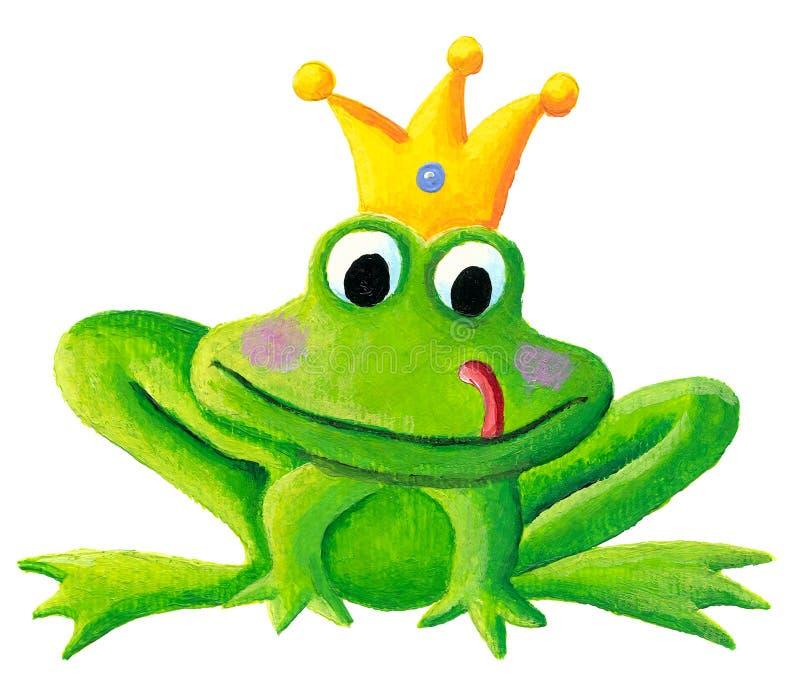 Piccolo principe sveglio della rana con una corona dorata sul suo acrilico della testa royalty illustrazione gratis