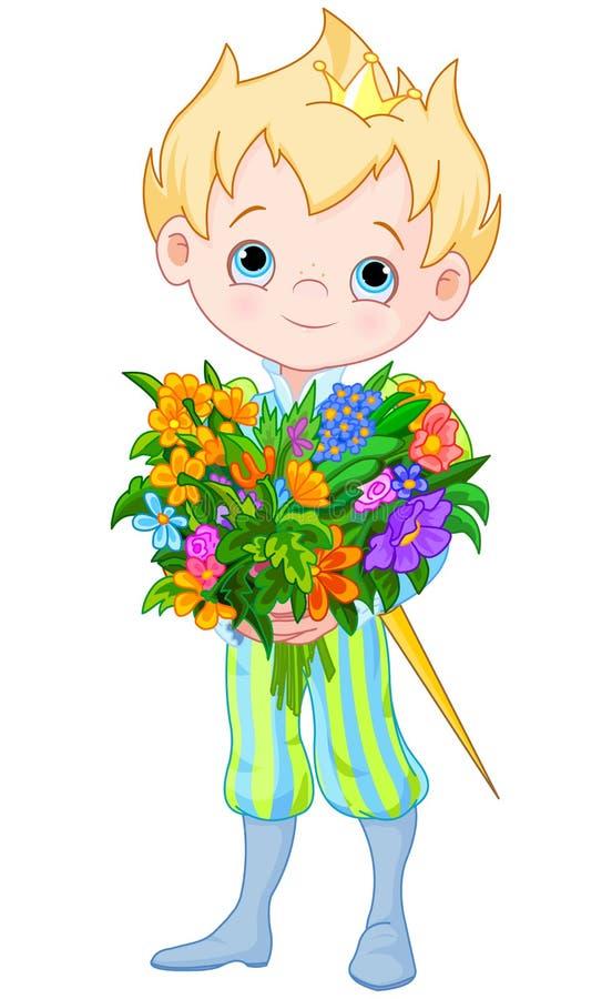 Piccolo principe sveglio Holds Flowers illustrazione vettoriale