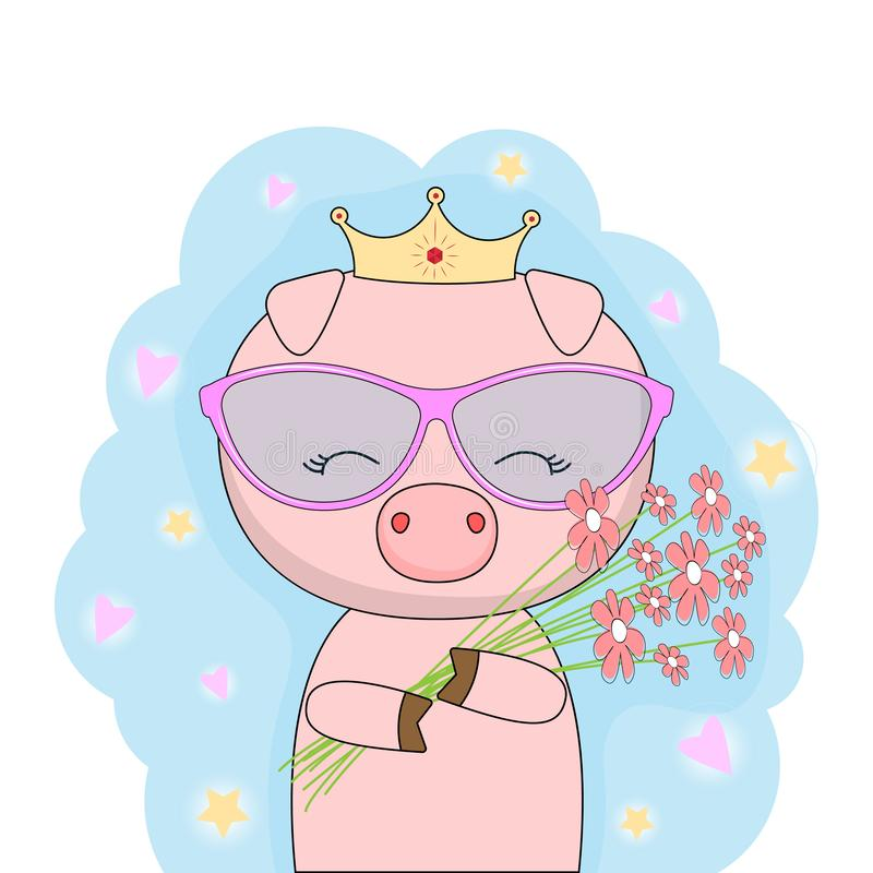 Piccolo principessa sveglia del maiale con la corona dell'oro che tiene un mazzo dei fiori royalty illustrazione gratis