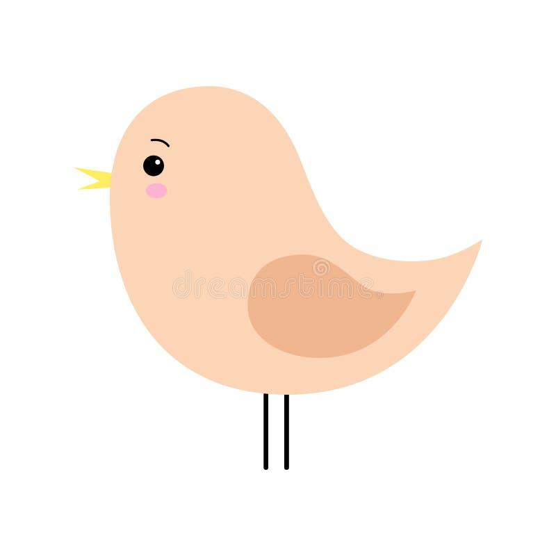 Piccolo progettazione arancio sveglia dell'uccello della molla Personaggio dei cartoni animati illustrazione di stock