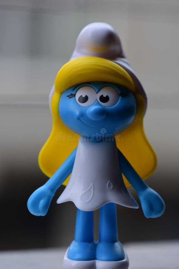 Piccolo Puffi blu, sig.na Smurf fotografia stock