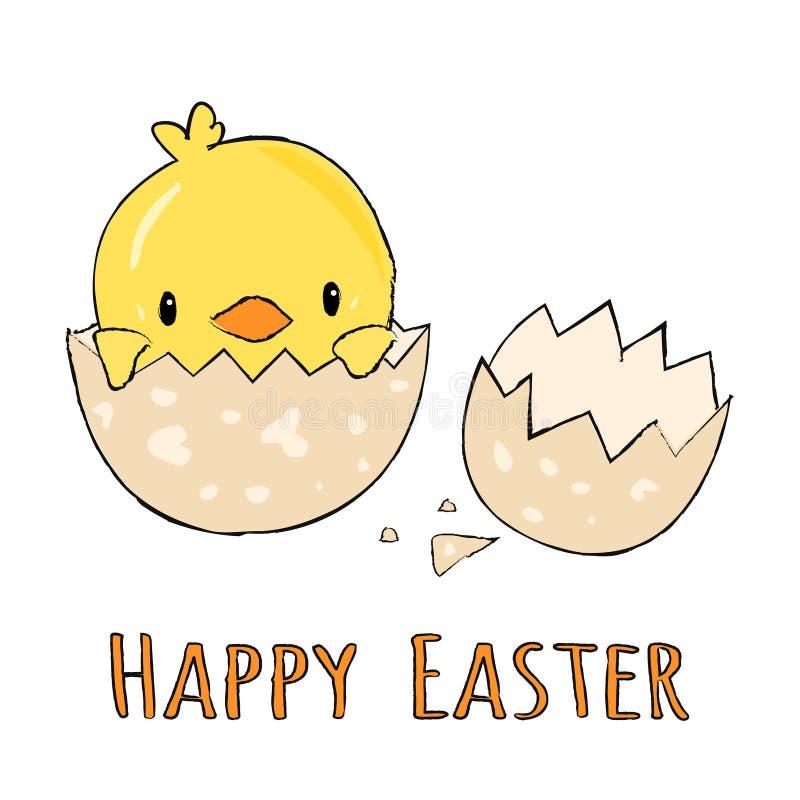 Piccolo pulcino giallo sveglio in uova incrinate e coperture dell'uovo con il testo pasqua felice, illustrazione del segno del gr illustrazione vettoriale