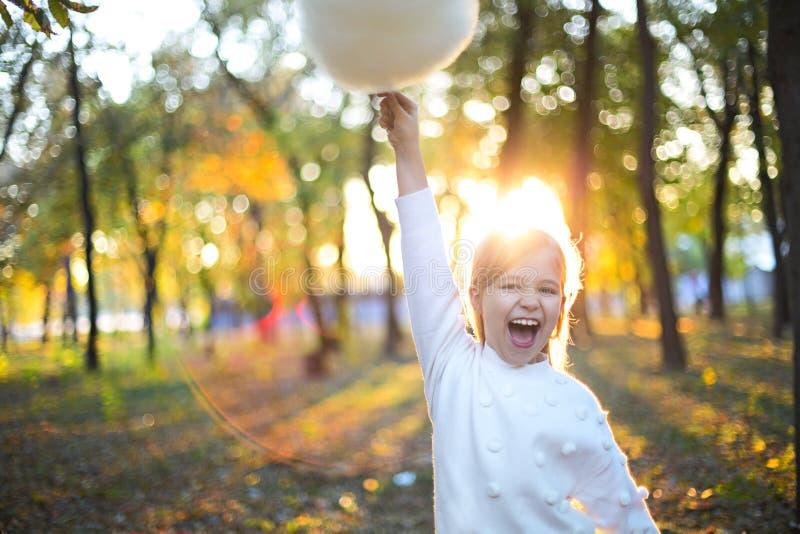 Piccolo ragazza sveglia con lo zucchero filato nei precedenti del parco di autunno Divertiresi e posare fotografia stock