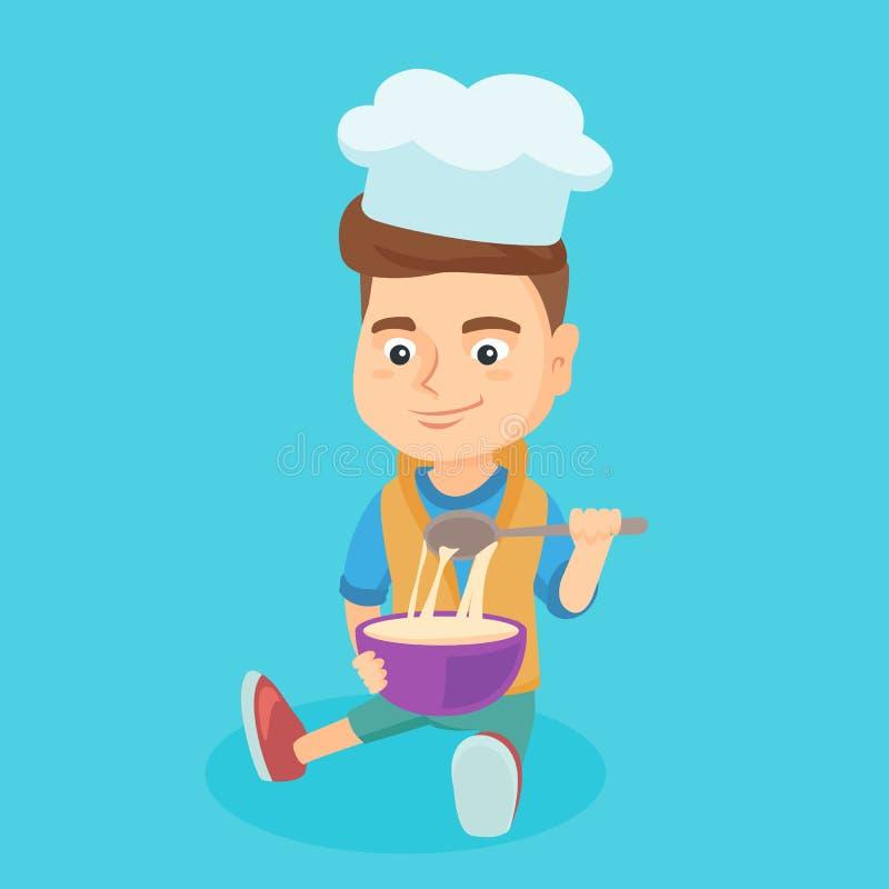 Piccolo ragazzo caucasico in cappello del cuoco unico che produce la pasta illustrazione vettoriale