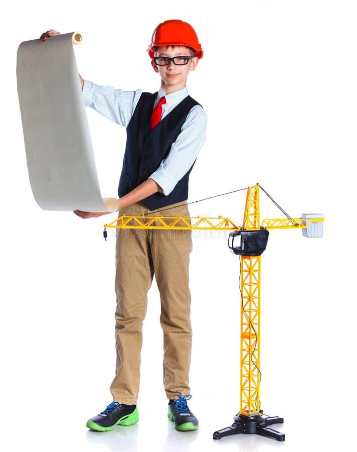 Piccolo ragazzo del costruttore immagine stock libera da diritti