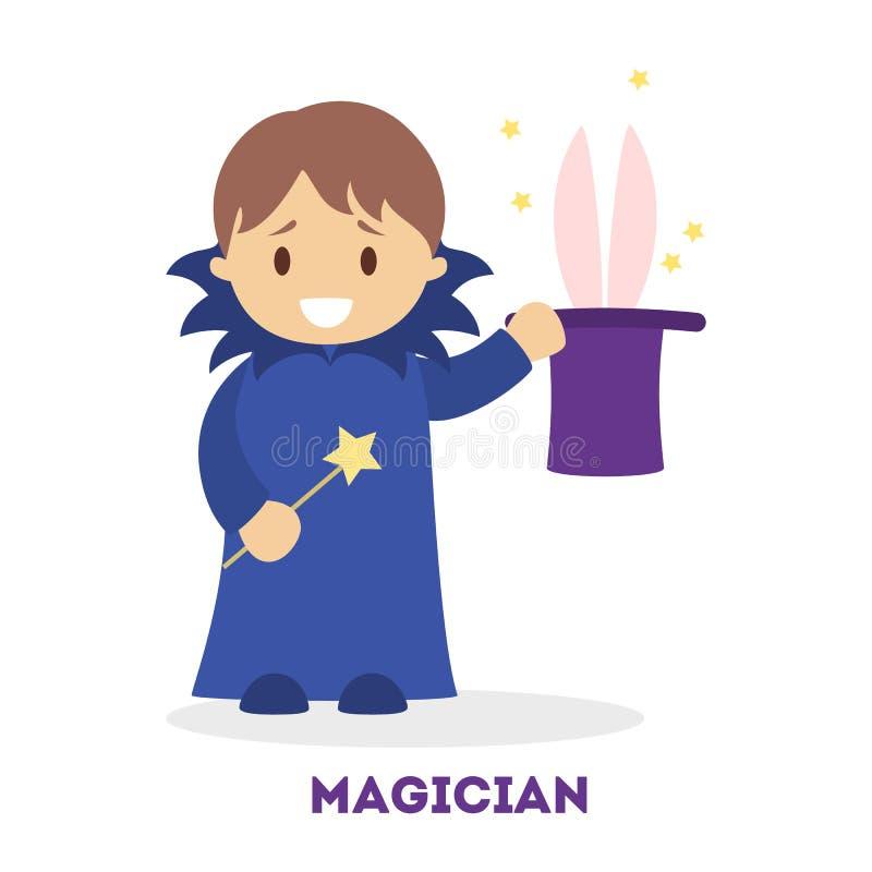 Piccolo ragazzo del mago nel costume con il cappello illustrazione vettoriale