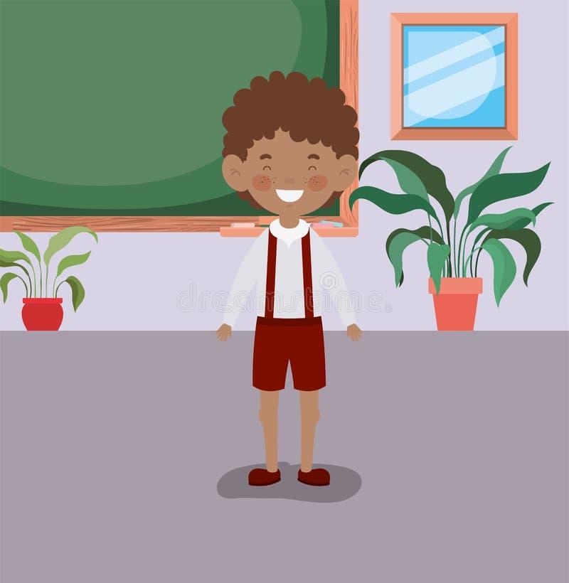 Piccolo ragazzo dello studente di afro nell'aula illustrazione vettoriale