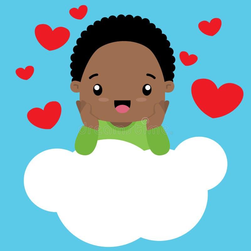 Piccolo ragazzo nero sveglio nell'amore che si siede su una nuvola royalty illustrazione gratis