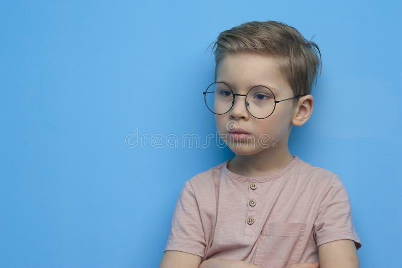 Piccolo ragazzo sveglio in vetri che posano meditatamente immagine stock