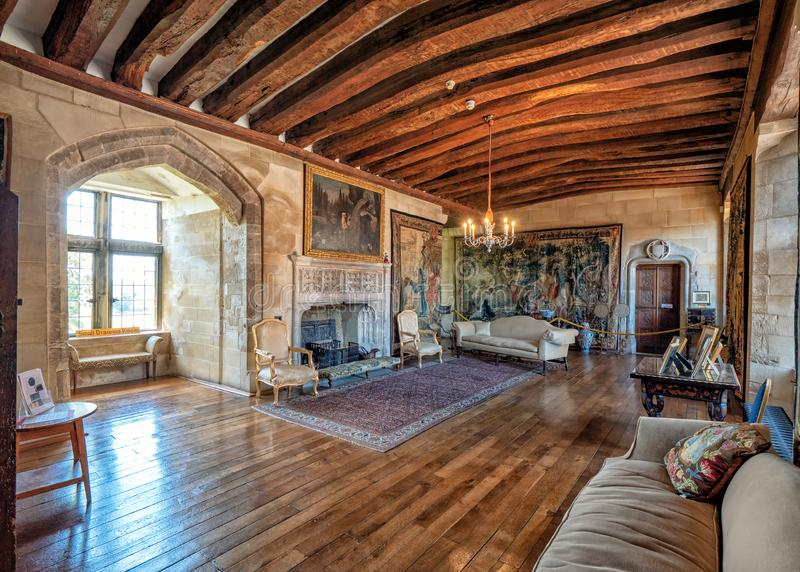 Piccolo salotto, Berkeley Castle, Gloucestershire, Inghilterra fotografia stock