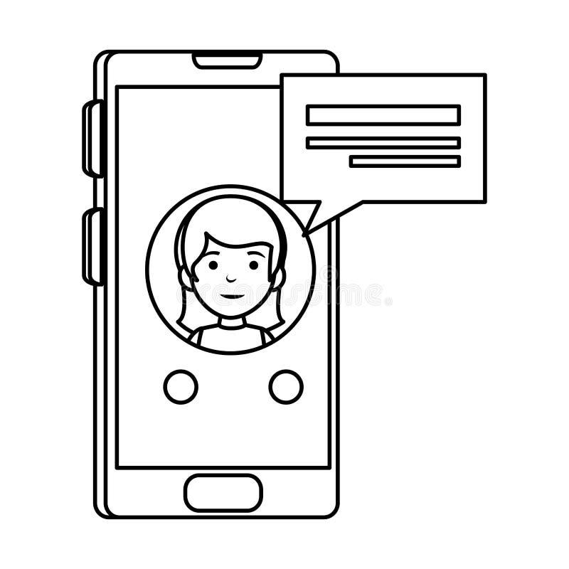 Piccolo scolara con lo smartphone ed il fumetto illustrazione di stock