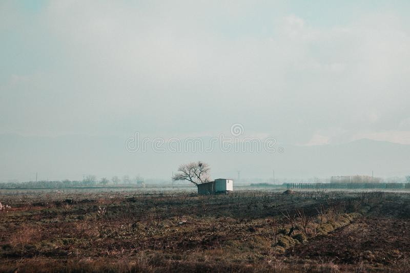 Piccolo singola casa costruita in un grande campo fotografia stock libera da diritti