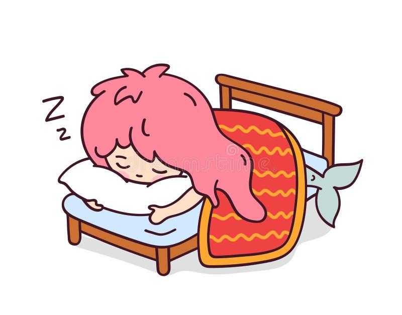 Piccolo sirena di sonno che abbraccia un cuscino illustrazione di stock