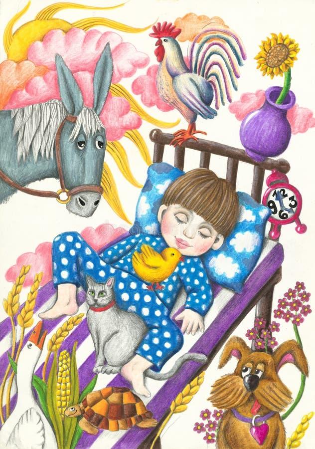 Piccolo sogno sveglio del ragazzo illustrazione vettoriale