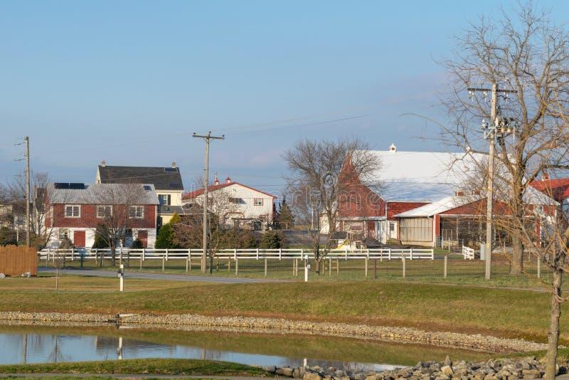Piccolo stagno, piccole costruzioni e casa in una scena rurale, la contea di Lancaster, PA dell'azienda agricola fotografie stock libere da diritti