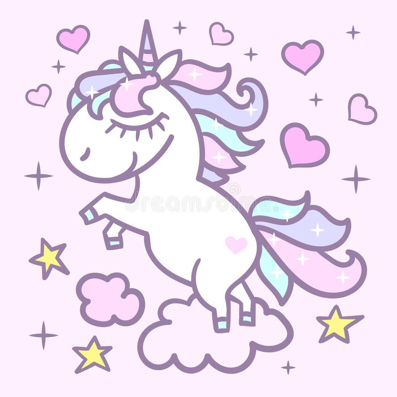 Piccolo, sveglio, unicorno dell'arcobaleno su un fondo rosa Vettore illustrazione vettoriale