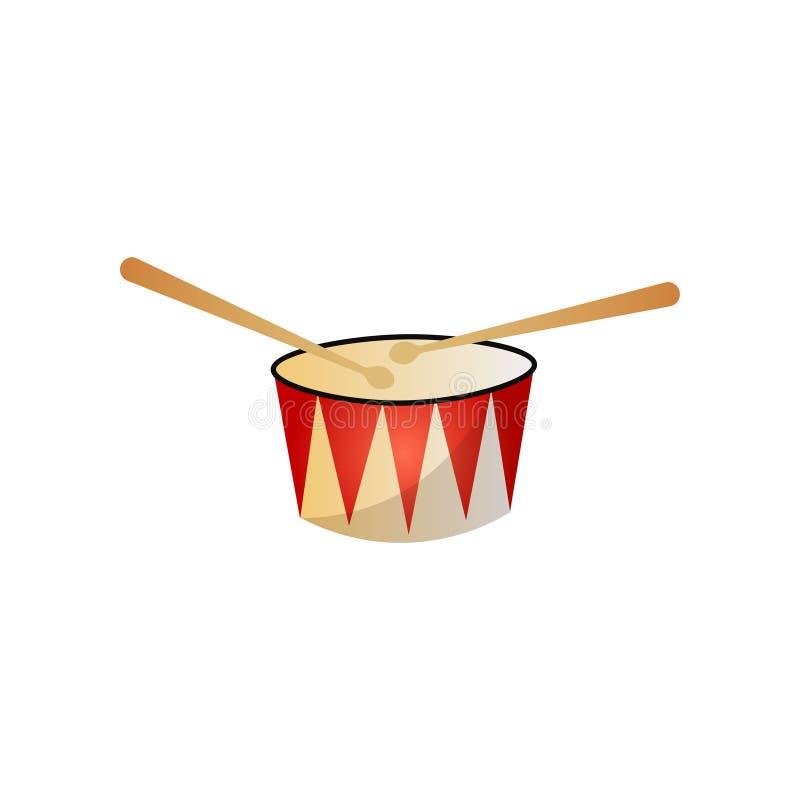 Piccolo tamburo dello strumento musicale moderno con i bastoni di legno royalty illustrazione gratis