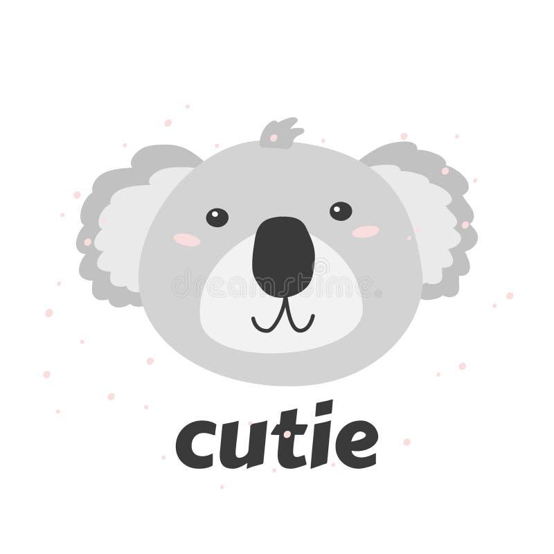Piccolo testa di coala s con la parola Cutie Illustrazione semplice di vettore illustrazione vettoriale