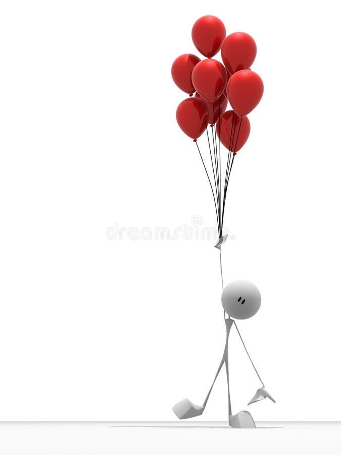Piccolo tirante con gli aerostati illustrazione vettoriale