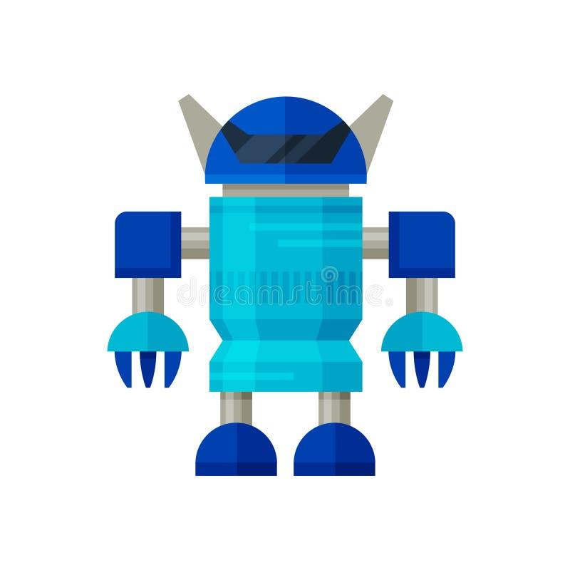Piccolo trasformatore blu del robot Guerriero di fantasia Umanoide d'acciaio Intelligenza artificiale Progettazione piana di vett illustrazione di stock