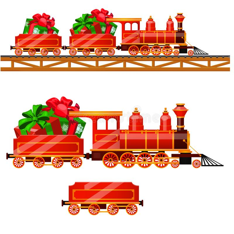 Piccolo treno rosso con i vagoni dalla ferrovia porta le scatole con i regali di Natale isolati su un fondo bianco Fumetto di vet illustrazione di stock