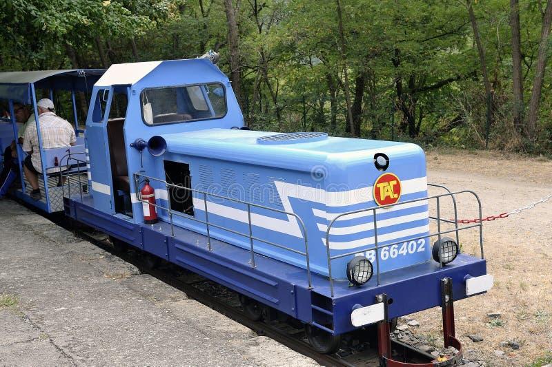 Piccolo treno turistico fra il ` Andorge di Sainte Cecile d ed il san Ju fotografie stock