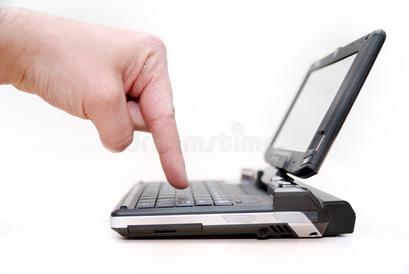 Piccolo un computer portatile può essere immagini stock