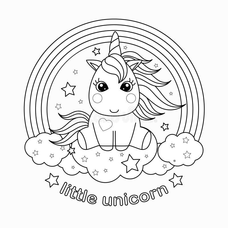 Piccolo, unicorno del fumetto Illustrazione in bianco e nero di vettore per il libro da colorare royalty illustrazione gratis