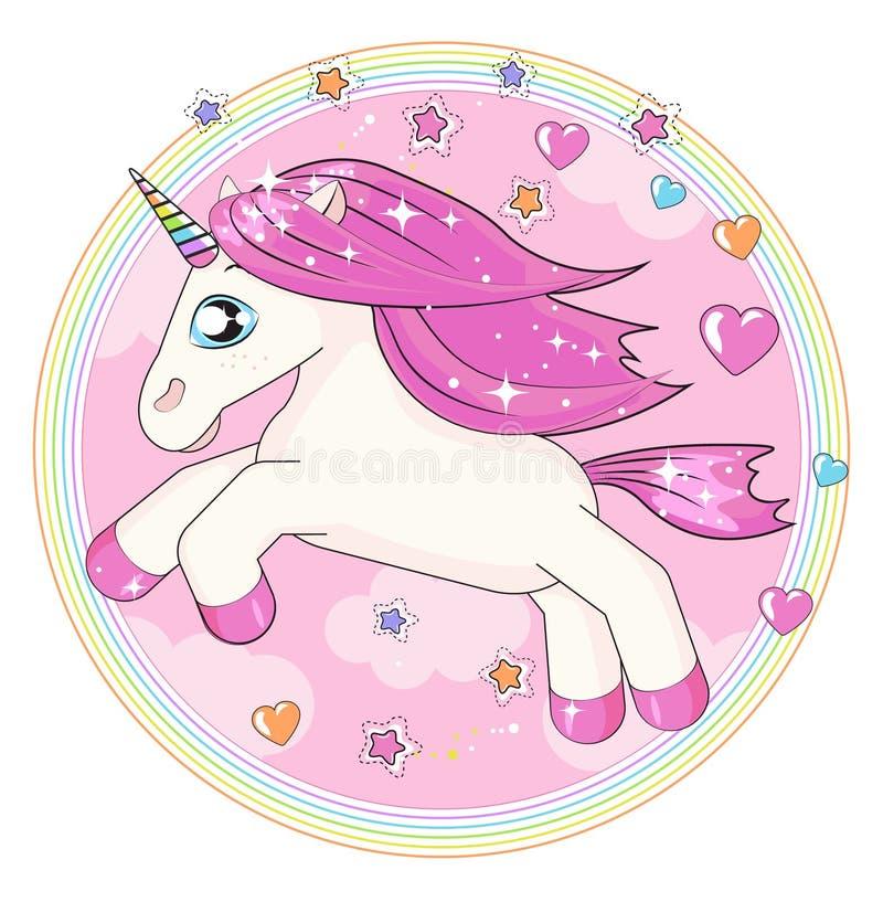 Piccolo unicorno magico rosa sveglio Progettazione di vettore su fondo bianco Stampa per la maglietta royalty illustrazione gratis
