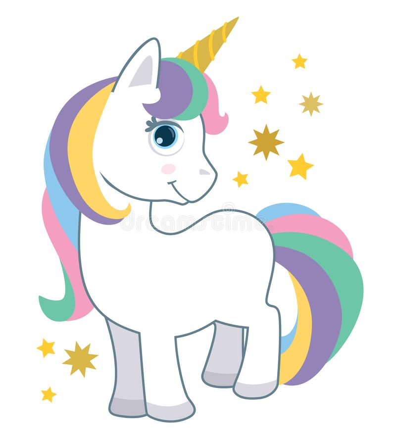 Piccolo unicorno sveglio del bambino con i capelli dell'arcobaleno isolati sull'illustrazione bianca di vettore di stile del fume illustrazione vettoriale