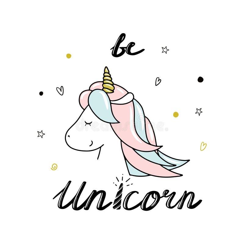 Piccolo unicorno sveglio Sia iscrizione dell'unicorno Illustrazione disegnata a mano di vettore illustrazione vettoriale